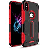 Iphone X case cover, Celkase™,[Pentagon Logo Cut] Slim Fit Hybrid Shock Absorption With Extreme Heavy Duty Protection Built-in [Kickstand] Impact Resistant [Rugged] Protective Case for iPhone X- 4.8''( Red)