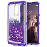 Dexnor Compatible with LG Stylo 4 Case LG Q Stylus Case Hard Clear Glitter 3D Flowing Liquid Cover TPU Silicone + PC 3 Layer Shockproof Protective Heavy Duty Defender Bumper for Girls/Women - Purple