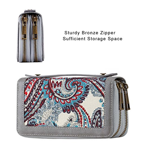 Purse Floral Card Dual Phone Cash PU Strap Premium Big With Zippered White HAWEE Size Long Coin Smart Woman for Wallet for Clutch znH6YxZ
