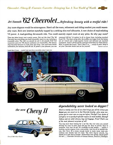 Chevy Impala Coupe (1962 CHEVROLET IMPALA SPORT COUPE & CHEVY II 300 4-Door Sedan LARGE VINTAGE COLOR AD - USA - NICE ORIGINAL !!)