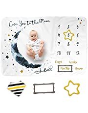 """Luka&Lily Baby Monthly Milestone Blanket for Baby Boy and Girl, Personalized Baby Blanket for Newborn Baby Shower, Month Blanket for Baby Pictures, Includes Bandana Drool Bib + 2 Frames, Large 60""""x40"""""""