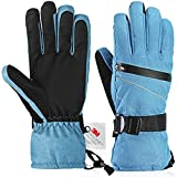 Ski Gloves?Fazitrip Windproof Waterproof Winter Gloves with/without Sensitive Touchscreen Function and Zipper Pocket for Women, 13M Thinsulate Insulation Idea for Skiing, Snowboarding and Cycling, Blue/Black Med