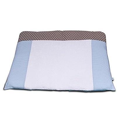 Funda para colchón cambiador con lavable, revestimiento de algodón cambiador cuadros, color azul