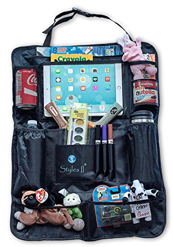 (Styles II Car Back Seat Organizer with Insulated Thermal Pocket, Tablet Holder - Touch Screen Pocket - Use as Backseat Organizer for Kids & Toddlers, Kick Mat & Back Seat Protector)