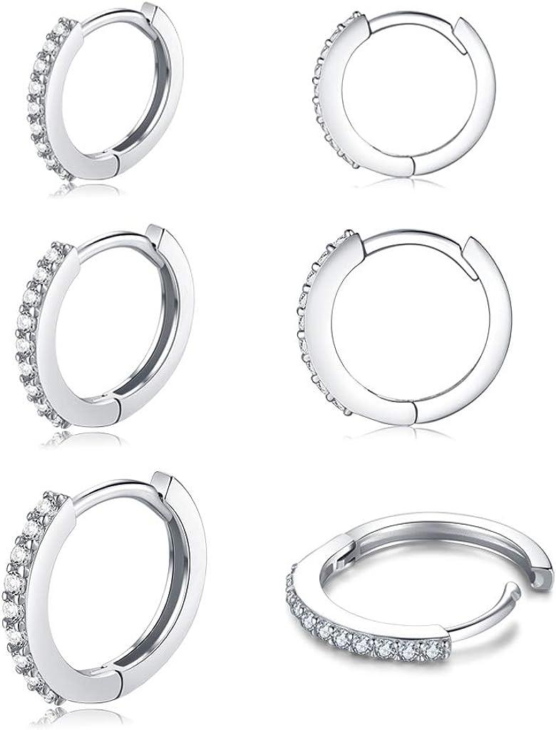 3 Pairs Silver Hoop Earrings for Women,Sterling Silver Post Cubic Zirconia Small Hoop Earrings Set| Cartilage Huggie Hoops Piercing Jewelry for Girls Gifts,8/10/12mm