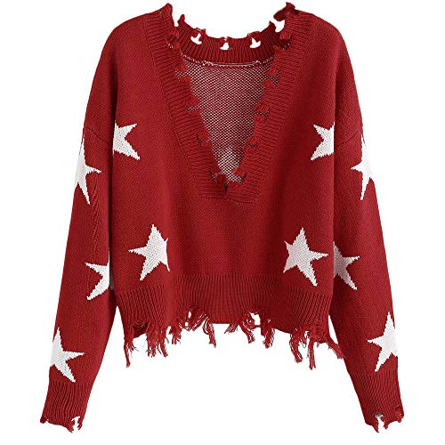 (ZEZCLO Women's Star Graphic V-Neck Ripped Knit Sweater Frayed Cropped Pullover (Red))
