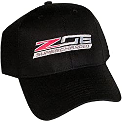 ZO6 Corvette Supercharged Black Logo Hat Cap Chevrolet Made in USA and Racing Decal