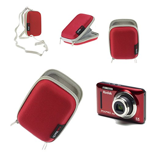 Navitech Red Water Resistant Hard Digital Camera Case Cover Compatible with The iBEAM TE-SSA Small Square Camera