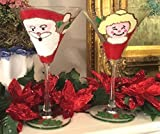 Christmas Martini Glasses,Santa,Hand painted, Custom