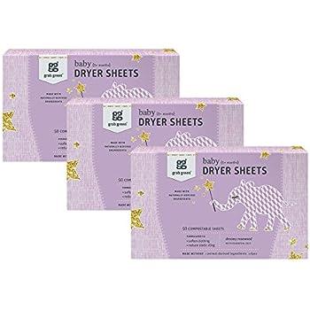Grab Green Baby Natural Dryer Sheets, Rosewood, 150 Sheets