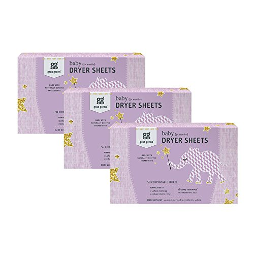 Grab Green {Stage 2} Natural Baby Dryer Sheets {5+ Months}, Compostable, Free of Wax & Animal-Derived Ingredients, Dreamy Rosewood Fragrance-with Essential Oils, 50 Sheets (3-Pack)