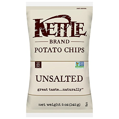 Kettle Brand Potato Chips, Unsalted, 5 Ounce Bags (Pack of 15)