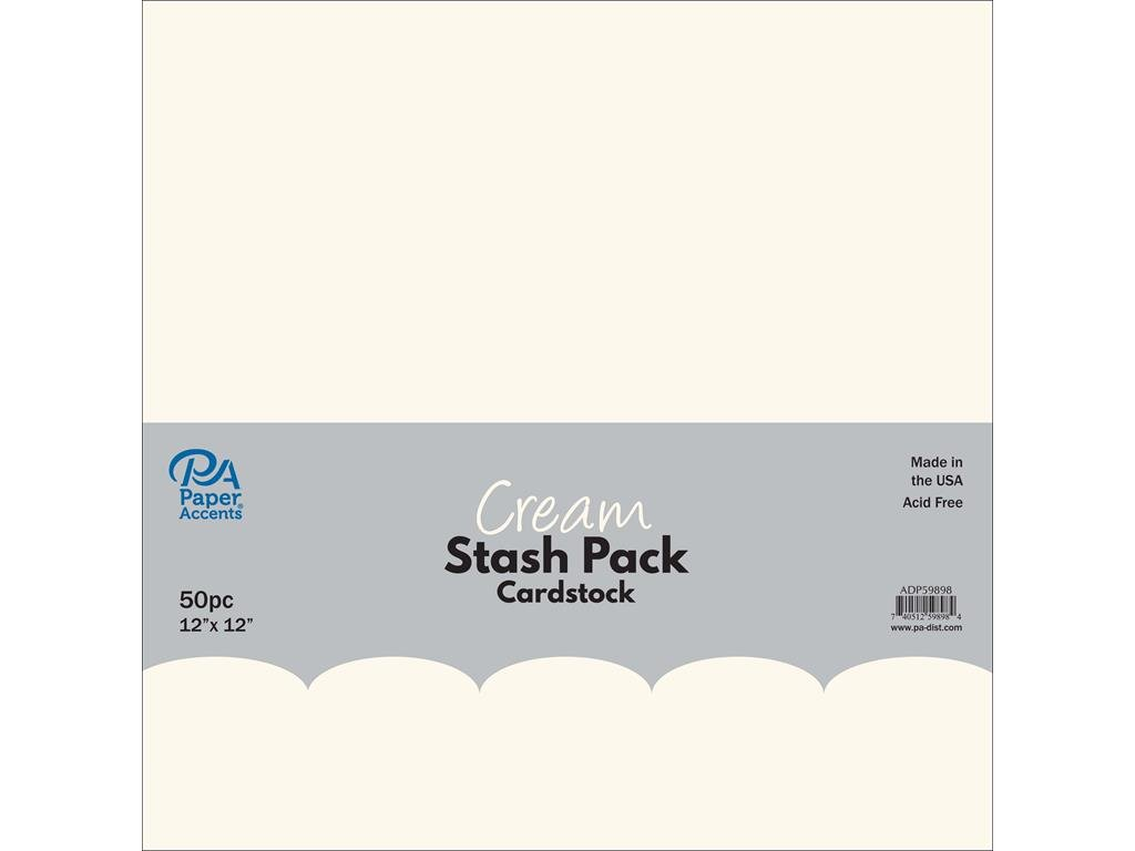 Paper Accents 50pc Stash Pack 12x12 Cream by Paper Accents