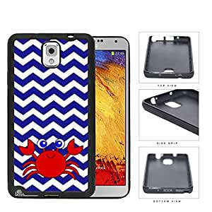 Cute Red Crab And Blue Chevron Rubber Silicone TPU Cell Phone Case Samsung Galaxy Note 3 III N9000 N9002 N9005