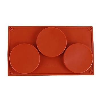 XuBa Herramienta de Pastelería de Bricolaje para Hornear Discos de Silicona de 3 Cavidades para Tarta de Pastel de Chocolate en Cocina: Amazon.es: Hogar