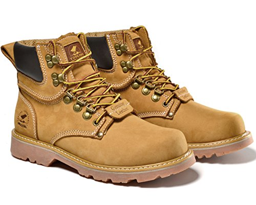 Insun Men's Crazy Horse Leather Work Boots Yellow E07IPeI