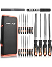 AUKUYEE 20Pcs File Set with Portable Case, Premium Metal File Set Includes Flat/Triangle/Half-Round/Round Large File and 14Pcs Needle File Set, Ideal for Wood, Metal, Model & Hobby Applications