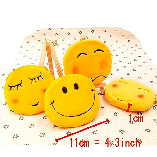 JZK 8 x Plush Emoji Coin Purse 11 cm Small Pouch Velvet Zipped Emoticon Bag  Smiley face Birthday Gift for Kids