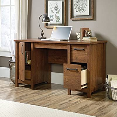 Sauder Cannery Bridge Computer Desk, Milled Cherry finish - Three drawers with metal runners and safety stops Lower drawer holds letter-size hanging files Storage area behind door features an adjustable shelf and holds vertical CPU tower - writing-desks, living-room-furniture, living-room - 51 WiVH69dL. SS400  -