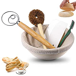 9 Inch Round Bread Banneton Proofing Basket 6-Piece Set with Linen Liner,Dough Scraper,Whisk,Bread Lame and Brush - Perfect for Artisan&Home Bakers