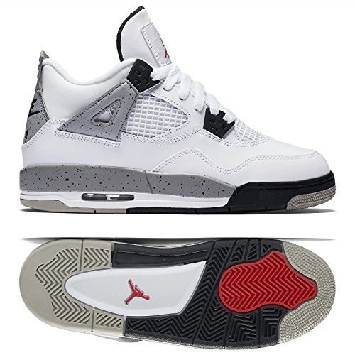 Nike Air Jordan 4 Retro OG BG Cement 836016-192 White/Red/Grey/Black Kids Shoes (Jordan White Cement Iv)
