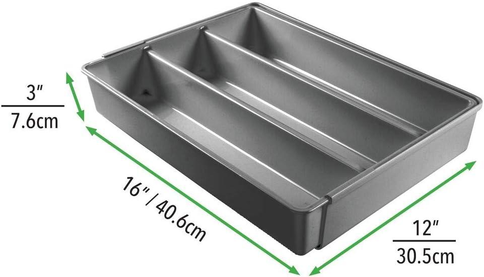 gris fonc/é mDesign rangement pour couverts antid/érapant avec 4 compartiments rangement tiroir extensible pour couverts ou ustensiles de cuisine range couvert pour tiroir en plastique