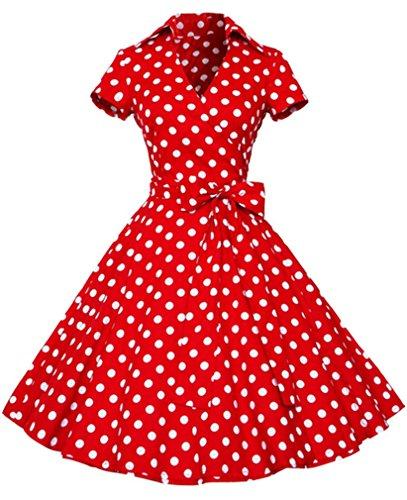 Eudolah - Vestido (estilo vintage años 50, diseño liso, manga corta, nudo Swing) Rouge pois