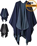 Women Plaid Shawls and Wraps,Winter Poncho Cape,Soft Cashmere Cloak,Oversized Long Cardigan Sweaters(Navy)