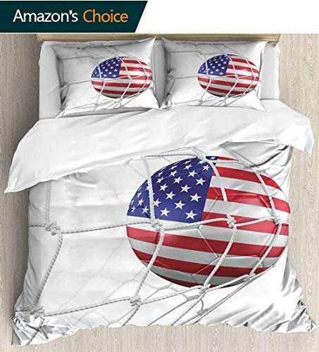 - shirlyhome Sports Decor Queen Size Bedding Bedspread,USA American Flag Printed Soccer Ball in a Net Goal Success Stylized Artwork Kids Bedding - Double Brushed Microfiber 90