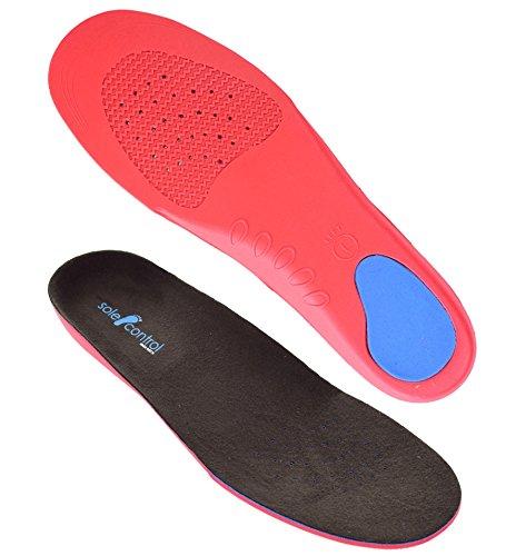 Sole Control línea roja - plantillas ortopédicas para todo el pie con un apoyo estable de arco y la copa del talón, fascitis plantar, pie plano, pie plano, la pronación. (XS (EU 34-37))