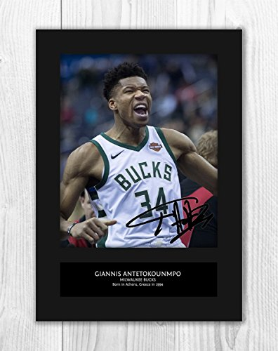 Engravia Digital Giannis Antetokounmpo - Milwaukee Bucks - NBA 1 MT - Signed Autograph Reproduction Photo A4 Print (Card -