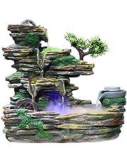 Xilinshop-Fuentes decorativas Fuente de Piedra de montaña de Interior Creativa Cascada de Tres Pisos y atomizador Humidificador de decoración de Escritorio (tamaño : S)