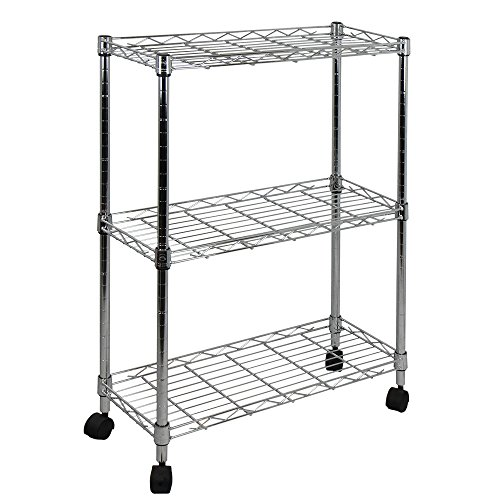 Chrome Open Base Utility Cart - Oceanstar 3-Tier Shelving All-Purpose Utility Cart, Chrome