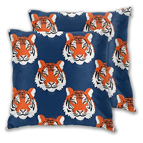 2PCS Jungle Tigers in Auburn Colors 18 X 18 inches Decorative Throw Pillows Covers Square Cushion Cases for Sofa Chair Car Bench Bed Office Bar Indoor Outdoor Home Party