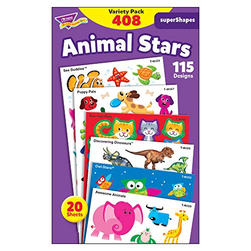 TREND enterprises, Inc. T-46928 Animal Stars superShapes Stickers-Large Variety Pack, 408/Pack ()