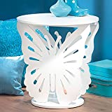 Top Home Solutions Children's Wooden Butterfly Table Round Side End Lamp Table Kids Girls Bedroom (White)