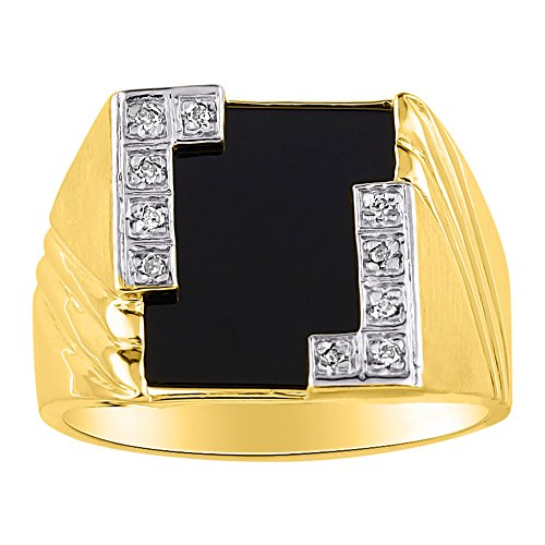 (Black Onyx & Diamond Ring set in Solid 14K Yellow Gold. Natural Onyx Special Cut for this Ring.)