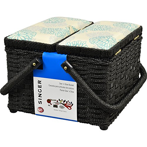 Picnic Vintage Sewing Basket with Notions (Singer Sewing Kit Box)