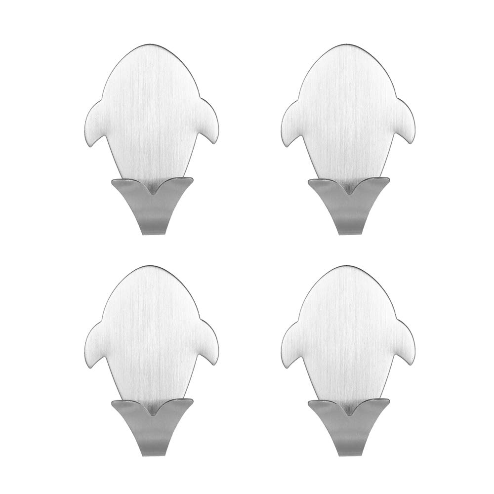 Blusea DF-2 4PCS Hook Self Adhesive Hooks for Whale Pattern Storage Holder Home Kitchen Wall Door Bathroom Stainless Steel Hanger Stick