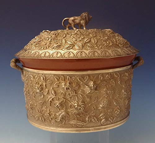 (Baltimore Rose by Schofield Repousse Sterling Casserole Dish with 3D Lion #0102)