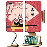 Luxlady Premium Apple iPhone 7 Plus Flip Pu Leather Wallet Case iPhone7 PLUS IMAGE ID: 35994301 Sushi on a tray with chopsticks on a background of a fan with a picture of spring landscape with