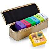 Large Weekly Pill Organizer Box in Gold Leather Case - 7 Day Week Pill Planner Organizers & Medication Reminder with 4 Times a Day - Daily Compartments that is Ideal for Travel by MEDca