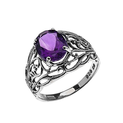 Sterling Silver Modern Filigree Design Genuine Amethyst Ladies Ring(Size (Filigree Design Ring Ring)