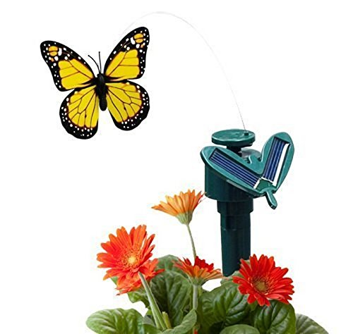 CNZ Fluttering Solar Battery Powered Butterfly with Ground Spike, Monarch Yellow - Solar Butterfly