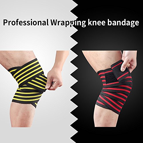 HYFAN Professional Wrist Elbow Knee Wraps Elastic Straps Brace Support Protector for Weightlifting Workout Bodybuilding Gym Fitness ( Knee, Red ) by HYFAN (Image #3)