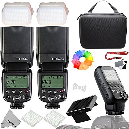 Fomito Godox xt32-c 1個ワイヤレス電源制御フラッシュトリガー+ 2個Godox tt600フラッシュスピードライト2 4 GワイヤレスXシステムCanon EOS DSLRカメラ