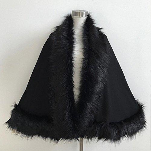 Tongshi Mujeres de la falda de piel de señora Faux abrigo corto poncho capa abrigo abrigo suéter Negro