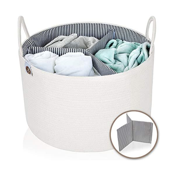 Spacense 20″ X 13.5″ Extra Large Cotton Rope Basket + Bonus Removable Divider | Laundry Basket That Can Be Used for Toy Storage | Beautiful Blanket Basket | Woven Basket | Large Storage Baskets