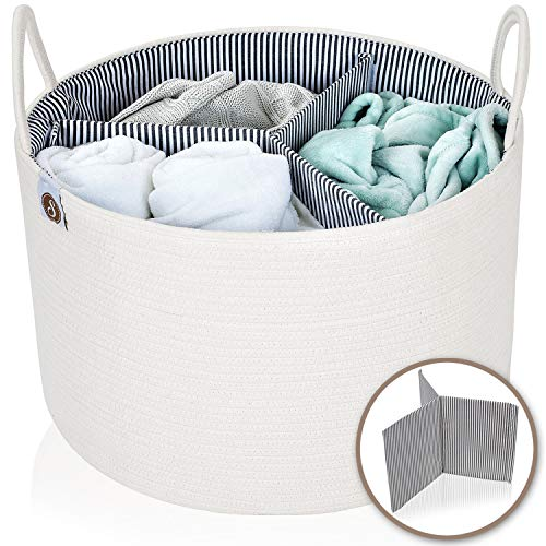 """Spacense 20"""" X 13.5"""" Extra Large Cotton Rope Basket + Bonus Removable Divider   Laundry Basket That Can Be Used for Toy Storage   Beautiful Blanket Basket   Woven Basket   Large Storage Baskets"""