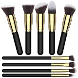 Makeup Brush Kit Golden Color, Premium Quality Cosmetic Makeup Brush Sets, Soft Durable Synthetic Bristles, Beautiful Pouch/Bag Included by Clara Jones